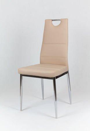 SK DESIGN KS017 BEIGE Kunsleder Stuhl mit Chromgestell