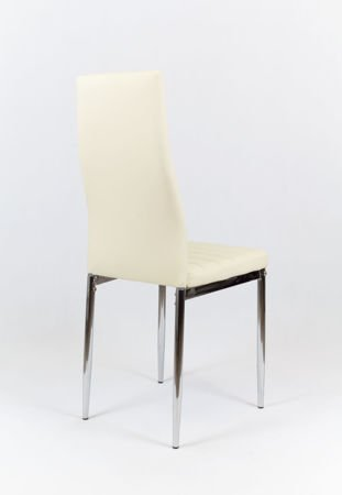 SK Design KS001 Creme Kunsleder Stuhl mit Chromgestell