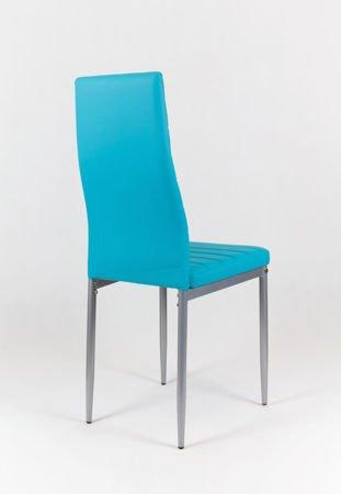 SK Design KS001 Türkis Kunsleder Stuhl auf einem lackierten Rahmen