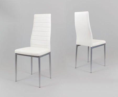 SK Design KS001 Weiss Kunsleder Stuhl auf einem lackierten Rahmen