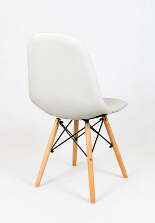 SK Design KS007 Weiss Kunsleder Stuhl mit Holzbeine