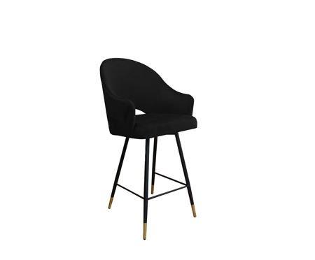 Schwarzer gepolsterter Sessel DIUNA Sessel Material MG-19 mit goldenem Bein