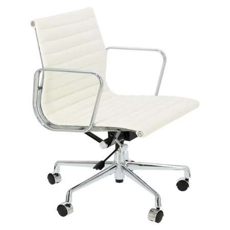 Sessel CH1171T weißes Leder, Chrom