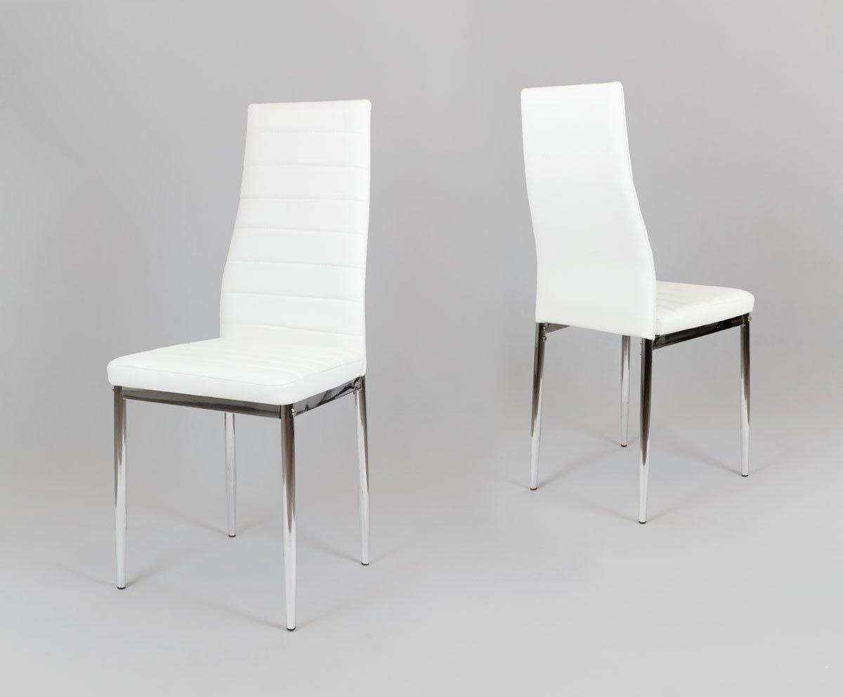 Sk Design Ks001 Białe Krzesło Z Eko Skóry Chromowane Nogi