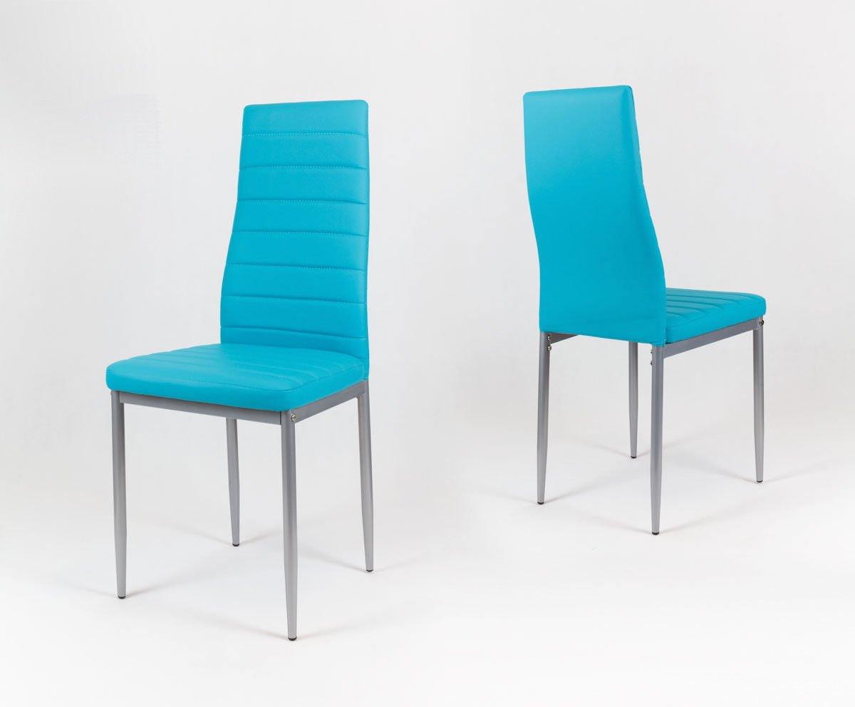 Sk Design Ks001 Turkusowe Krzesło Z Eko Skóry Szare Nogi