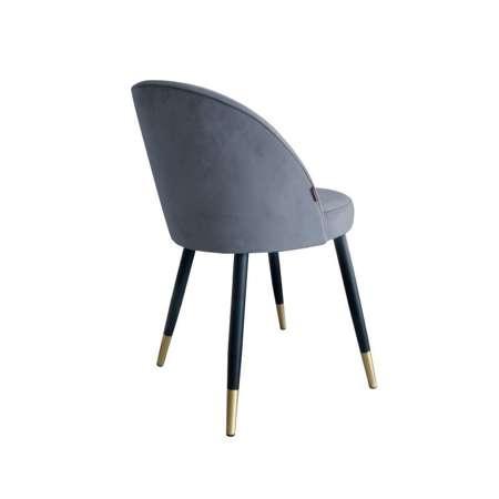 Ciemnoszare tapicerowane krzesło CENTAUR materiał BL-14 ze złotą nóżką