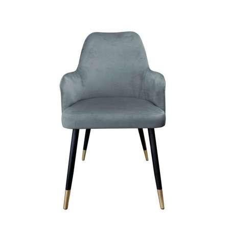 Ciemnoszare tapicerowane krzesło PEGAZ materiał BL-14 ze złotą nóżką