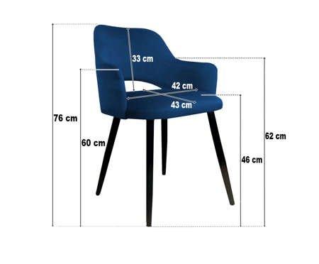 Granatowe tapicerowane krzesło STAR materiał MG-16 ze złotą nóżką