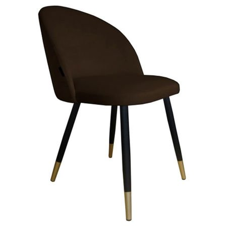Krzesło KALIPSO ciemnobrązowy materiał MG-05 ze złotą nóżką