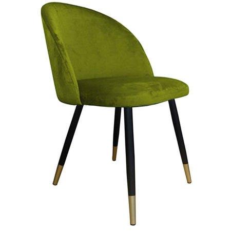 Krzesło KALIPSO zielone oliwkowe materiał BL-75 ze złotą nóżką