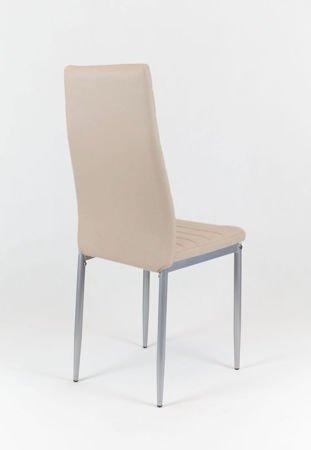 SK Design KS001 Beżowe krzesło z Eko-skóry, Szare nogi