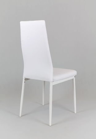 SK Design KS001 Białe Krzesło z Eko-skóry, Białe nogi