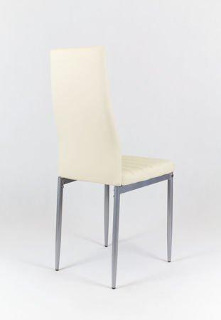 SK Design KS001 Kremowe Krzesło z Eko-skóry, Szare nogi