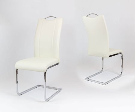SK Design KS003 Kremowe Krzesło z Ekoskóry na Stelażu Chromowanym