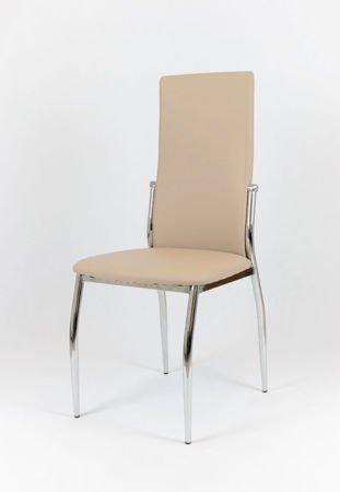 SK Design KS004 Beżowe Krzesło z Ekoskóry na Stelażu Chromowanym