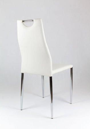 SK Design KS005 Białe Krzesło z Ekoskóry na Stelażu Chromowanym