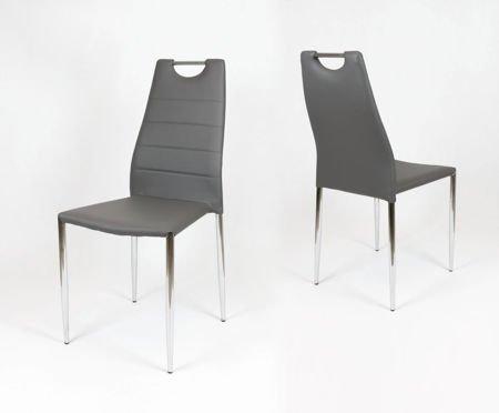 SK Design KS005 Szare Krzesło z Ekoskóry na Stelażu Chrom