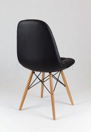 SK Design KS008 Czarne Krzesło z Ekoskóry na Drewnianych Nogach