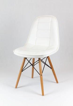 SK Design KS009 Białe Krzesło z Ekoskóry na Drewnianych Nogach
