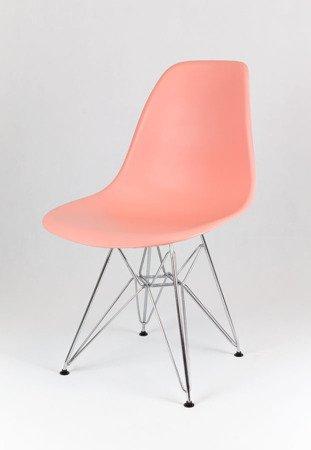 SK Design KR012 Jasnoróżowe Krzesło, Chromowane nogi