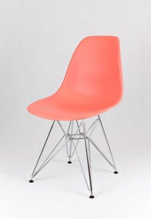 SK Design KR012 Różowe Krzesło, Chromowane nogi