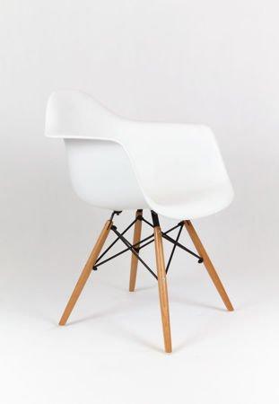 SK Design KR012F Biały Fotel, nogi Buk