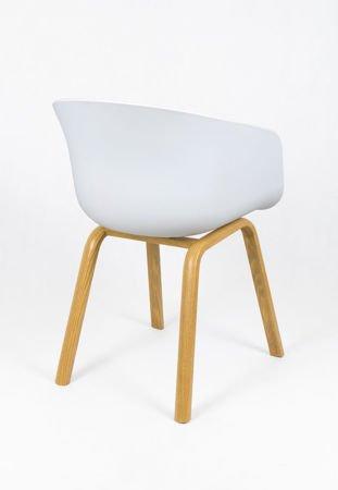 SK Design KR049 Białe / Jasnoszare Krzesło Tapicerowane