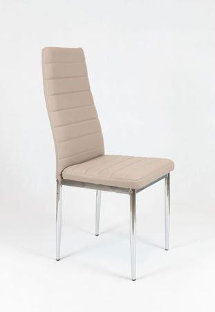 SK Design KS001 Beżowe Krzesło z Eko-skóry, Chromowane nogi