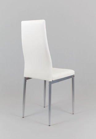 SK Design KS001 Białe Krzesło z Eko-skóry, Szare nogi