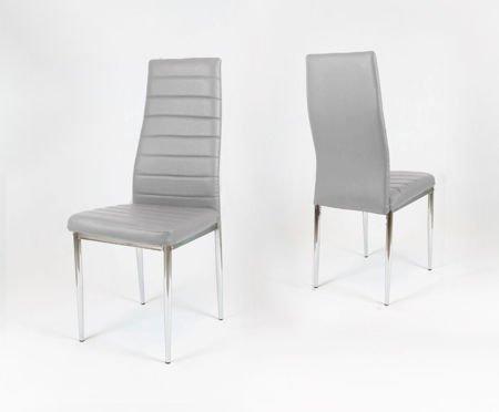 SK Design KS001 Jasnoszare Krzesło z Eko-skóry, Chromowane nogi