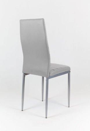 SK Design KS001 Jasnoszare Krzesło z Eko-skóry, Szare nogi