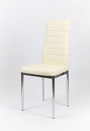 SK Design KS001 Kremowe Krzesło z Eko-skóry, Chromowane nogi