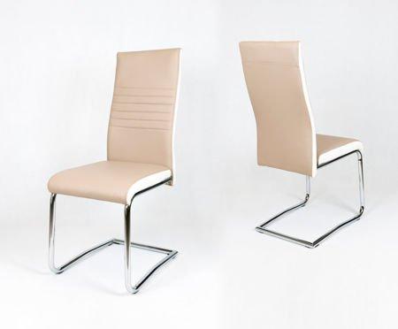 SK Design KS020 Beżowe Krzesło z Ekoskóry na Chromowanym Stelażu, biały bok