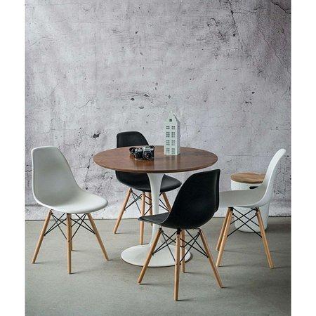 Stół Fiber biały 90 cm z blatem jesionowym barwiony dębem