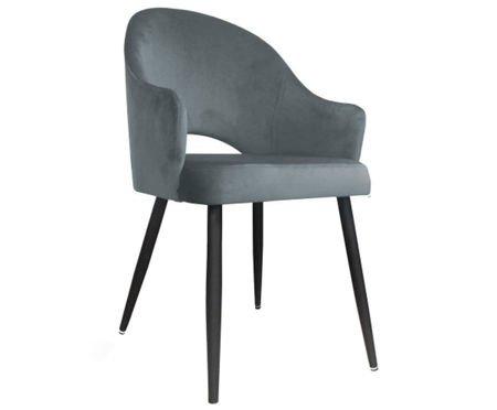 Szare tapicerowane krzesło fotel DIUNA materiał MG-17