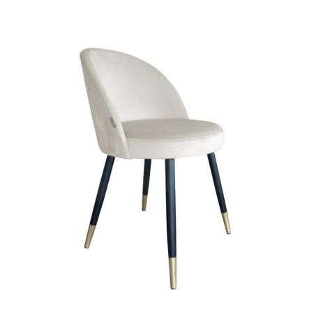 Tapicerowane krzesło CENTAUR w kolorze kości słoniowej materiał MG-50 ze złotą nóżką