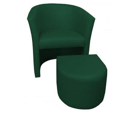 Zielony fotel CAMPARI z podnóżkiem