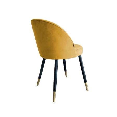 Żółte tapicerowane krzesło CENTAUR materiał MG-15 ze złotą nóżką