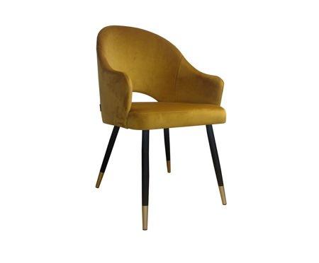 Żółte tapicerowane krzesło DIUNA materiał MG-15 musztardowe ze złotymi nóżkami