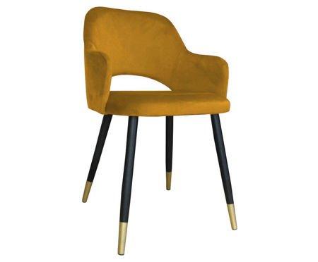 Żółte tapicerowane krzesło STAR materiał MG-15 ze złotą nóżką